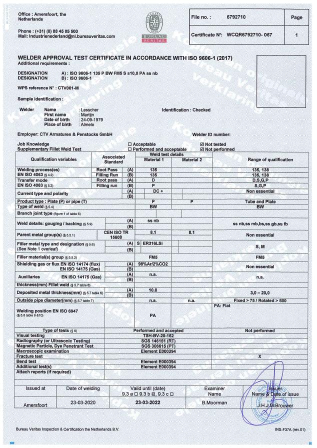 Welder Certificate